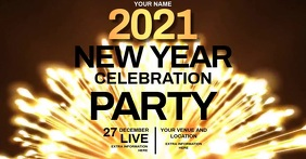 NEW YEARS PARTY EVENT VIDEO ad template Facebook Shared Image