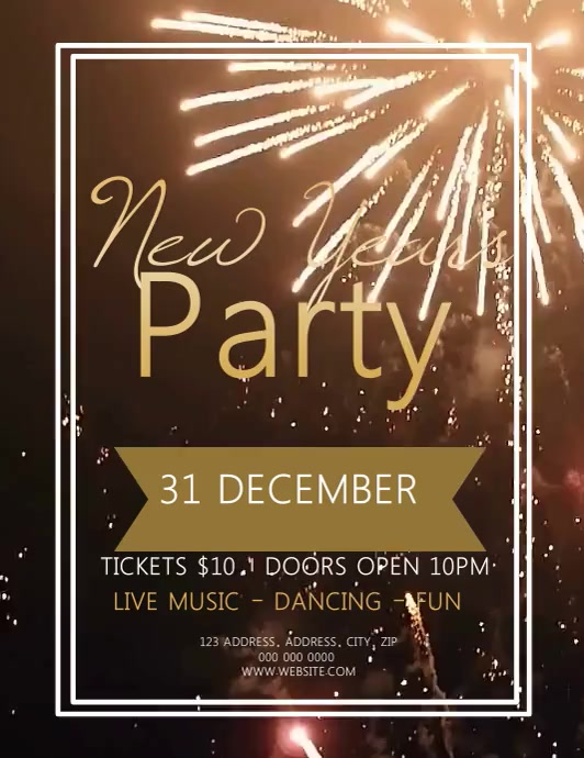 New Years Party Event Video Flyer Template