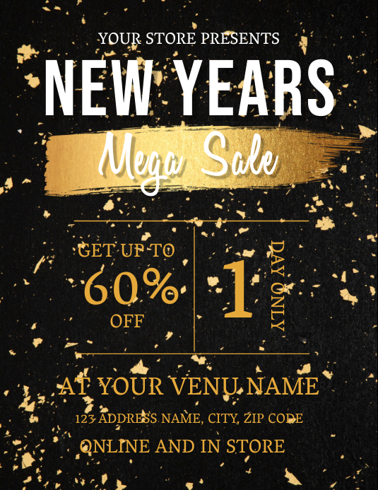 NEW YEARS SALE AD TEMPLATE ใบปลิว (US Letter)