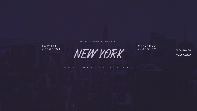New York Youtube Channel Art Banner Template Postermywall