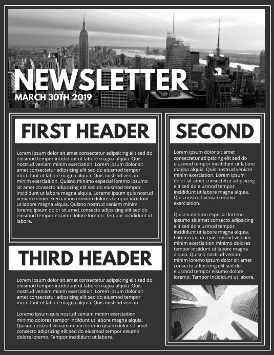 NEWSLETTER Løbeseddel (US Letter) template