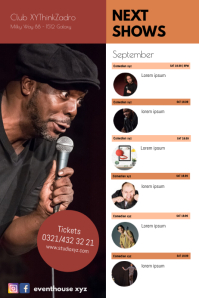 Next Comedy Shows Calendar Events Plays Flyer Poster template