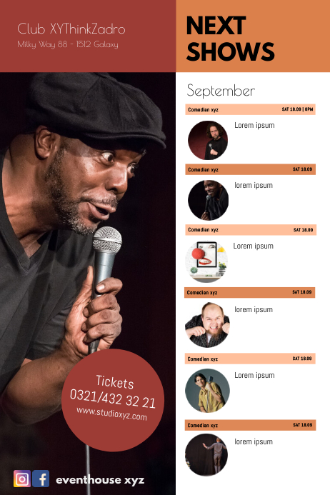 Next Comedy Shows Calendar Events Plays Flyer Póster template