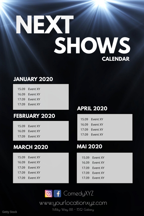 Next Shows Upcoming Events Calendar Planner Plakat template