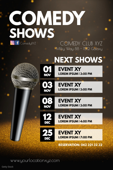 Next Upcoming Comedy Shows Events Theatre Ad โปสเตอร์ template