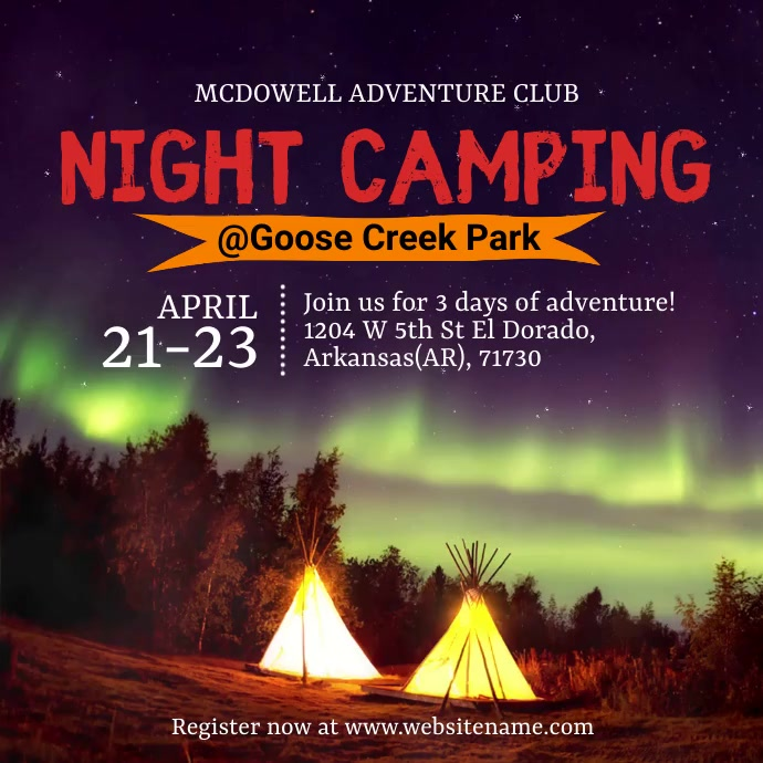 Night Camping Instagram Post template
