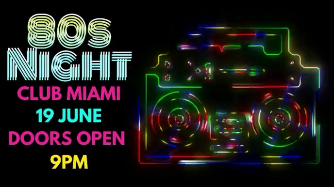 Night Club Event 80s Party Video Template Pantalla Digital (16:9)