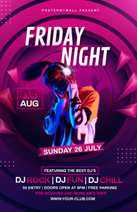 Night Club Flyer Template Half Page Wide