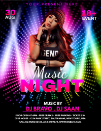Night Club Flyer Template Pamflet (Letter AS)
