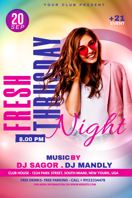 Night Club Flyer Template Banner 4' × 6'
