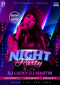 Night Club Party Flyer Design A5 template