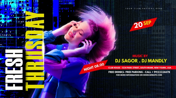Night club Party Flyer Post sa Twitter template