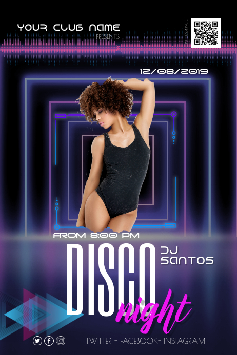 Night Disco Party Flyer Poster Plakat template