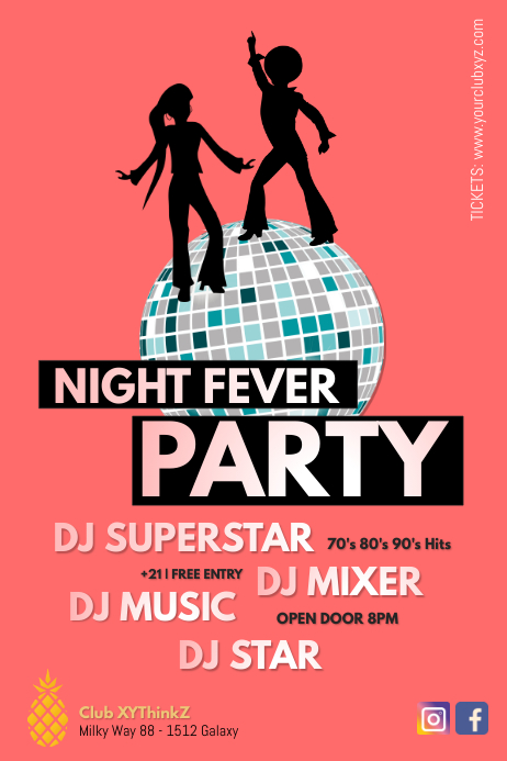 Night Fever Party Retro Disco Oldschool Ad Plakkaat template