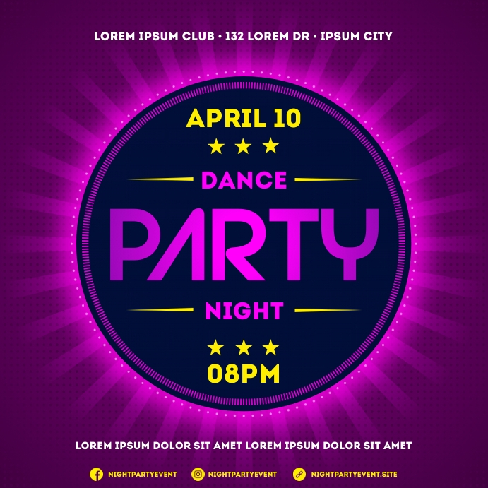 NIGHT PARTY BANNER Instagram Post template