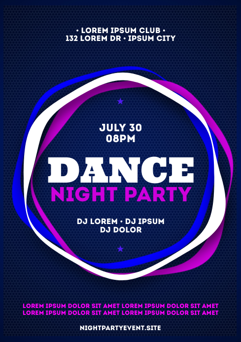 NIGHT PARTY POSTER A4 template