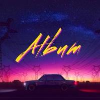 Night Ride Retro Animation album cover video template