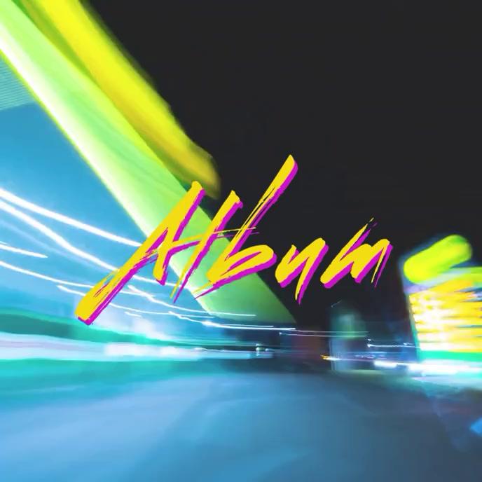 Night Ride Retro Vibe album cover video Pochette d'album template