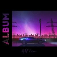 Night ride vaporwave album cover video template