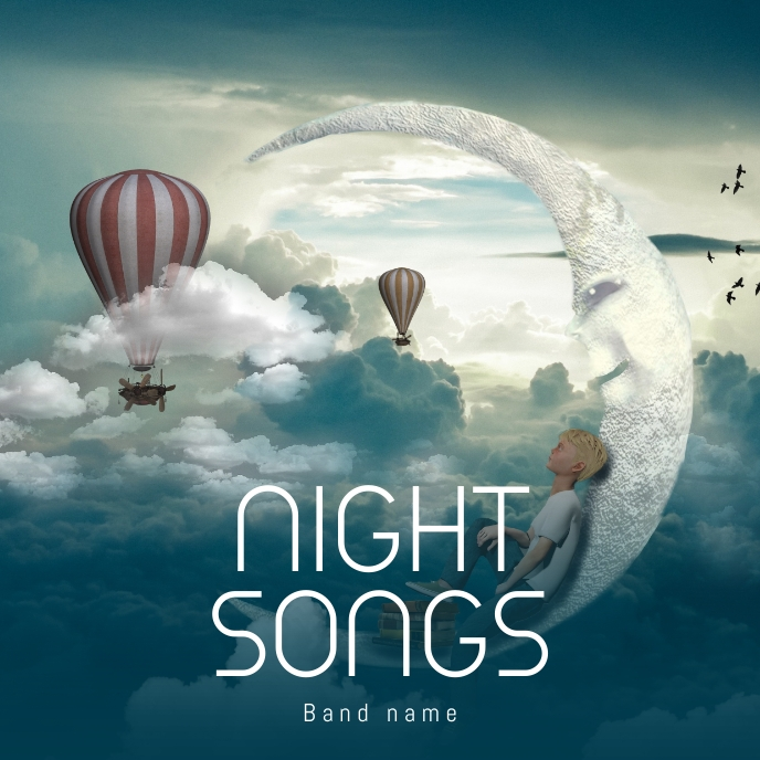 night song album cover template postermywall