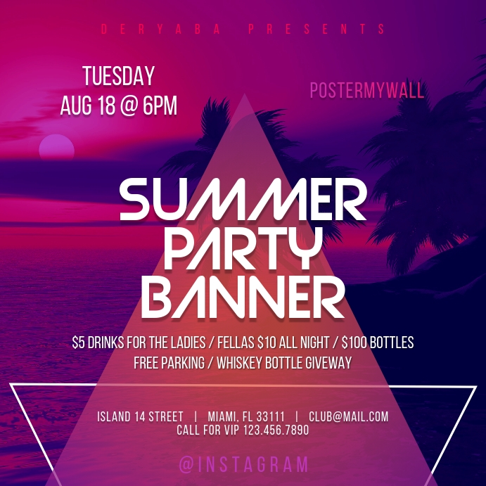 Night Summer Party Instagram Banner Template