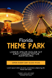 Night Theme park Ferris Wheel Flyer Template