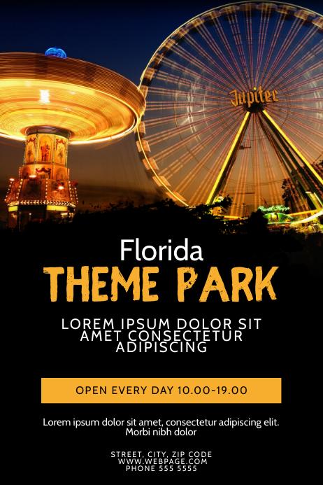 Night Theme park Ferris Wheel Flyer Template