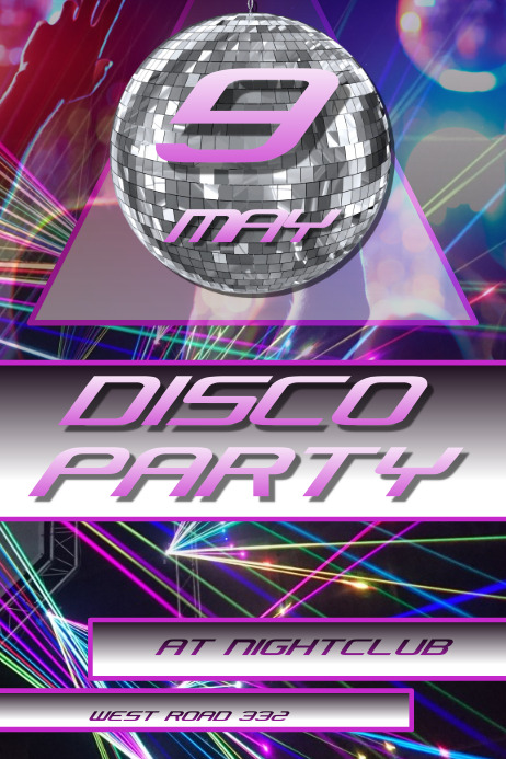 NIGHTCLUB DISCO PARTY POSTER/AD/FLYER