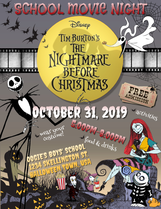 Nightmare Before Christmas Movie Night Flyer Template