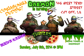 Ninja Turtles Boys Birthday Invite