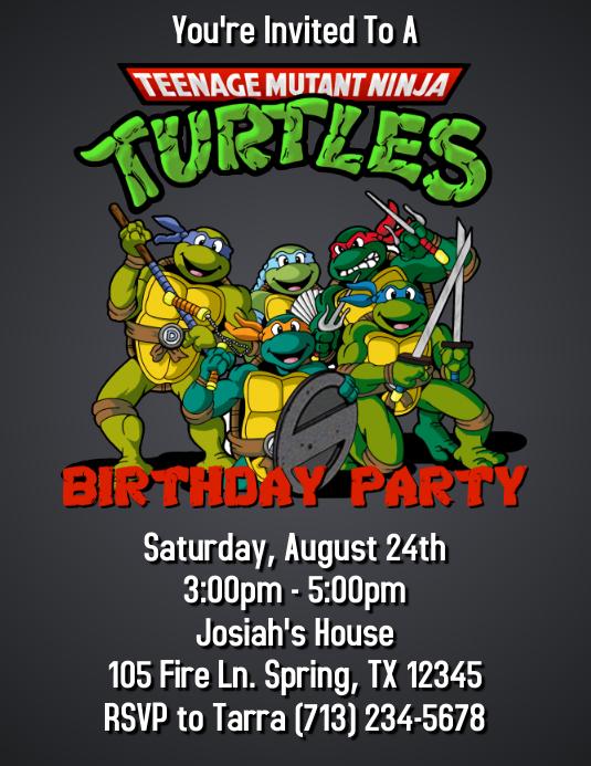 NINJA TURTLES BIRTHDAY PARTY INVITATION Vorlage