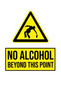 No alcohol beyond this point sign a4 template