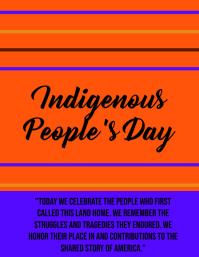 No animation Flyer Indigenous peoples day Løbeseddel (US Letter) template