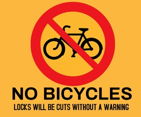 NO BICYCLES ALLOWED SIGN TEMPLATE Mellemstort rektangel
