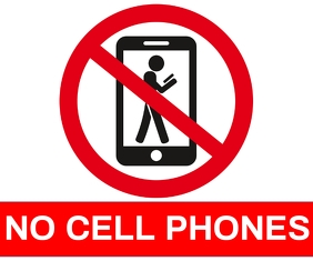 NO CELL PHONE TEMPLATE Persegi Panjang Sedang