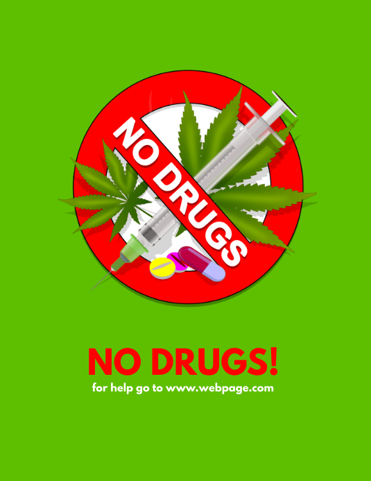 No Drugs Sign Flyer Template