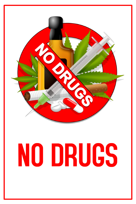 No Drugs sign template free