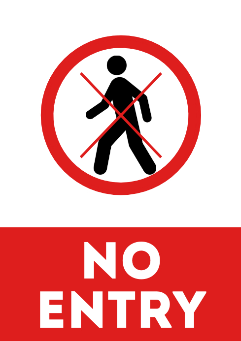 No entry allowed door sign printable a4 template