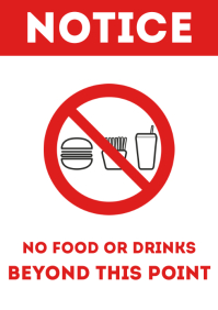 No food or drinks door sign printable a4 template
