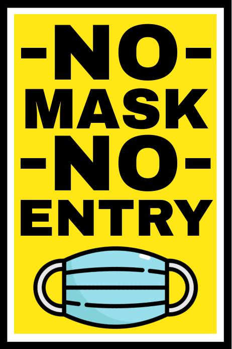No Mask No Entry Sign Template Spanduk 4' × 6'