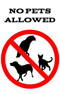 No pets allowed - Forbidden animals alert or attention sign