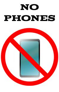 No phone alowed, forbidden sign