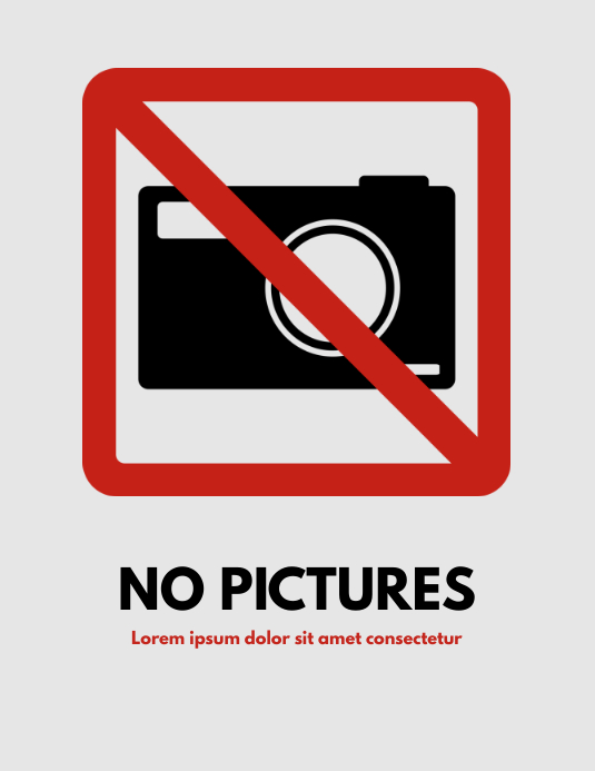 no pictures sign flyer template
