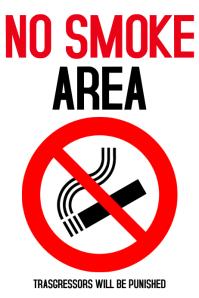 No Smoke Area Work poster