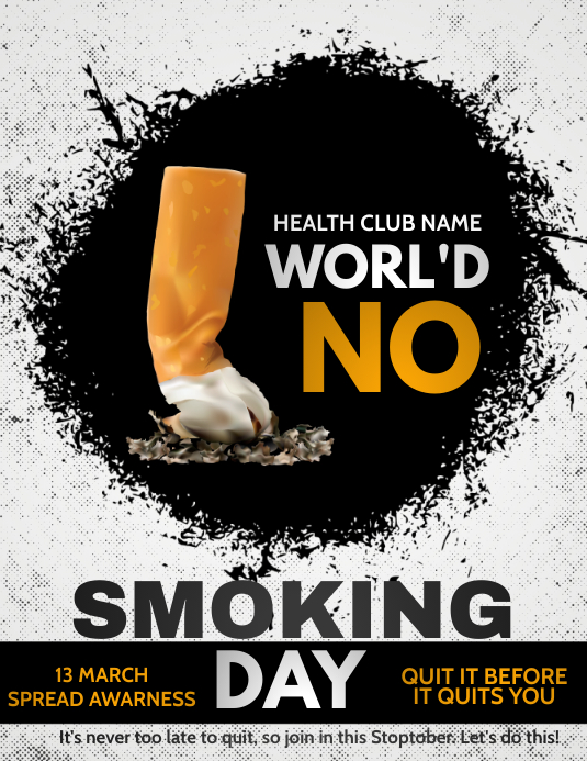No smoking day poster template,event flyer