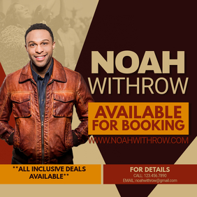 Noah Withrow Booking Flyer Publicación de Instagram template