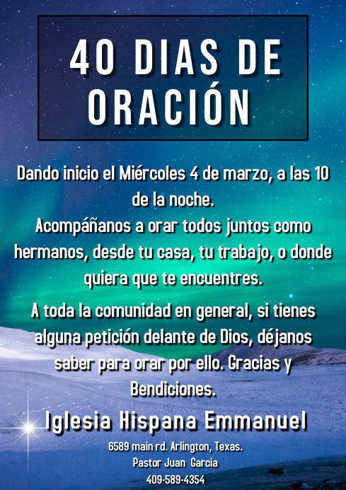 noche de oracion A4 template