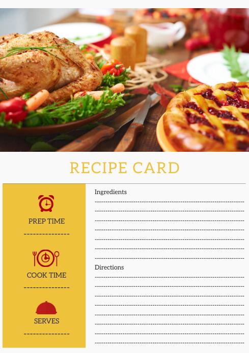 Notebook Style Recipe Card