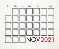 November 2021 Calendar Template Rectangle moyen