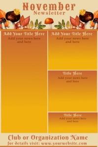November Fall Theme Newsletter Poster template